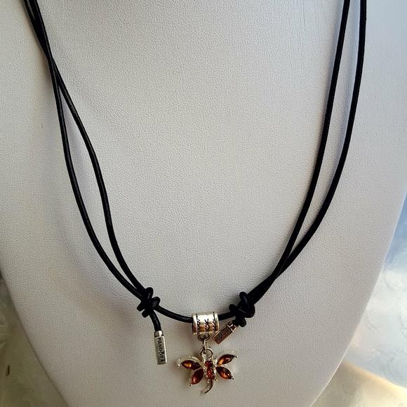 830156b3e ... switzerland pandora black leather cord necklace choker 925 2d9d4 6fb08